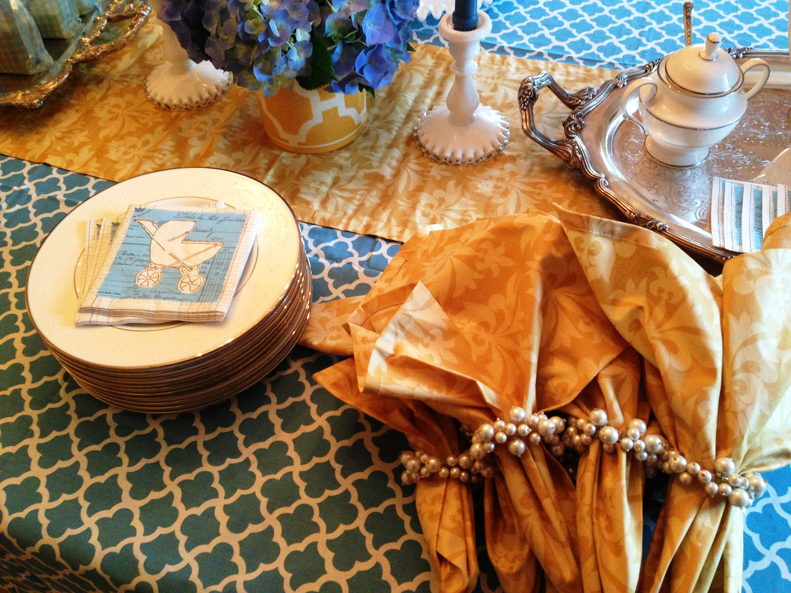 ... faux pearl napkin rings are from Once Upon a Table in Chester, NJ
