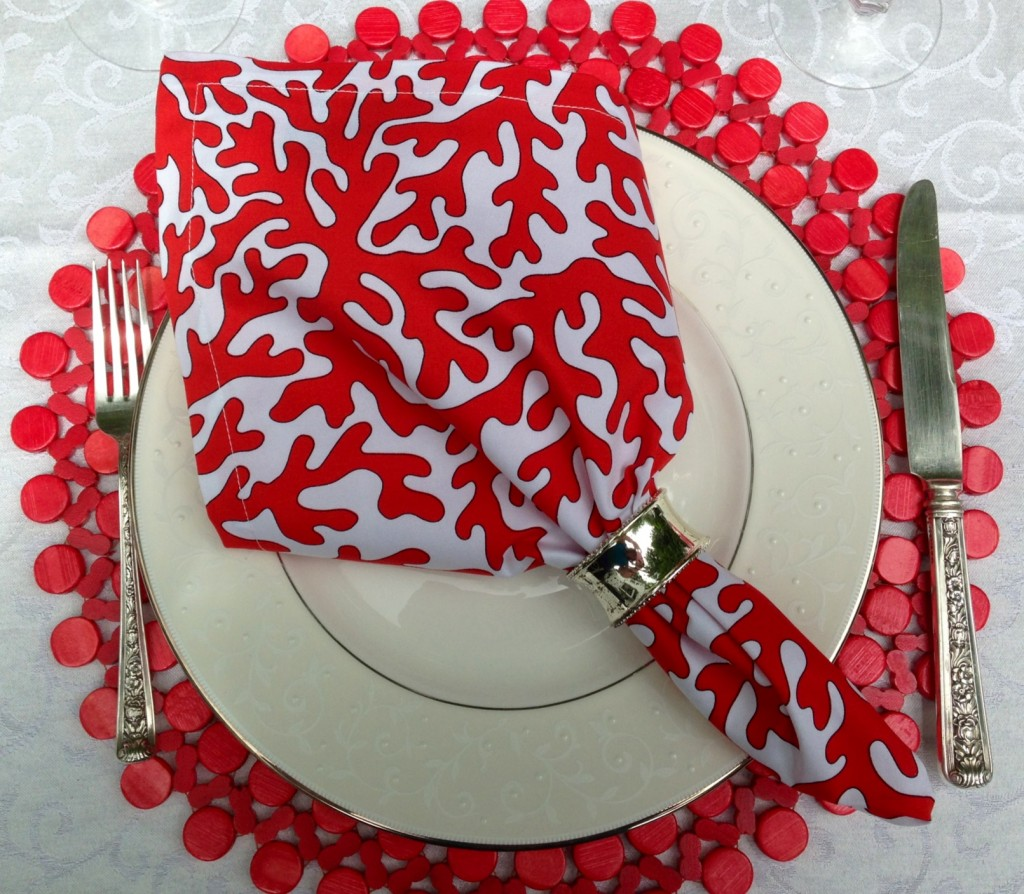 coral place setting close up