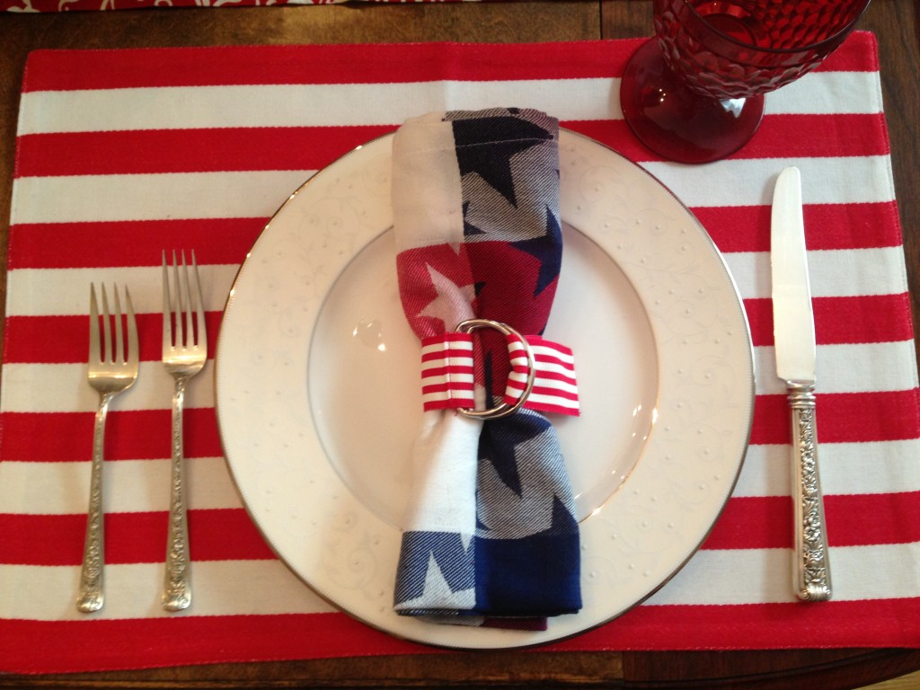 place setting red stripes