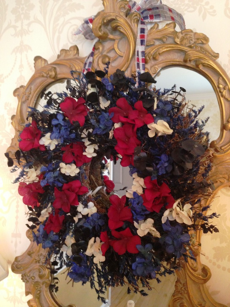 wreath in mirror