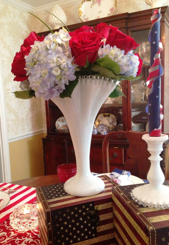 centerpiece-milk glass trumpet vase close up